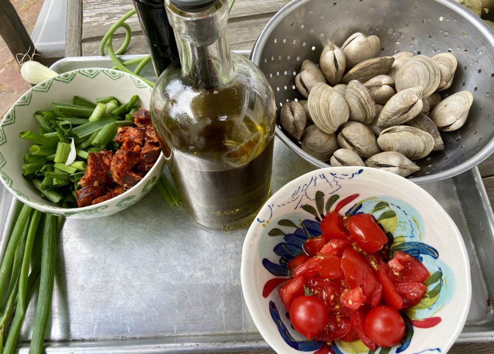 Ingredients to make the clam packets. (Kathy Gunst)