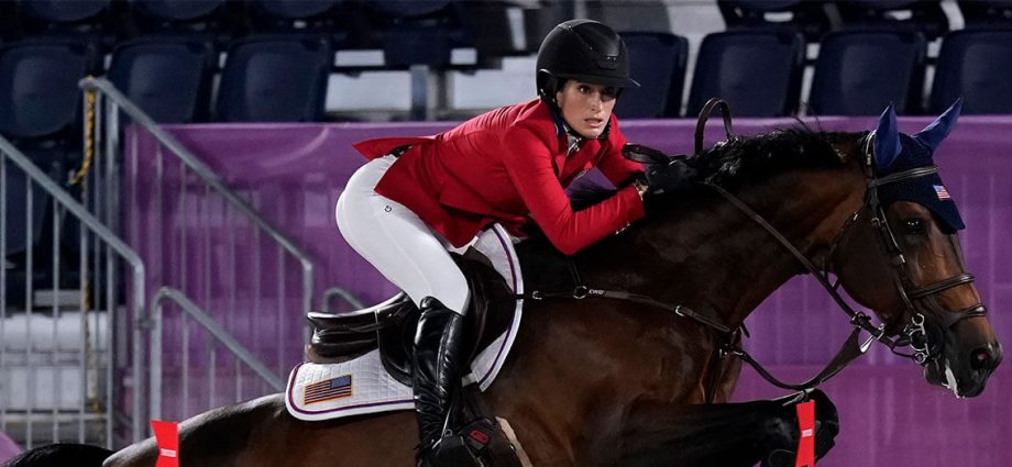 United States' Jessica Springsteen, riding Don Juan van de Donkhoeve, competes during the equestrian jumping individual qualifying at Equestrian Park in Tokyo at the 2020 Summer Olympics, Tuesday, Aug. 3, 2021, in Tokyo, Japan.