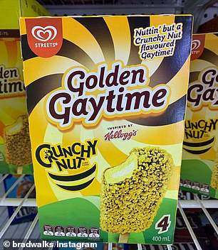 The Crunchy Nut flavoured Golden Gaytime has swirls of toffee and vanilla ice cream coated in a chocolate and peanut flavoured biscuit crumbs